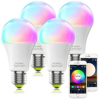 Alexa Compatible Smart Light Bulb A19 RGBCW Multicolor & Dimmable White UL Certified LED WiFi Bulb No Hub Required MagicLight Color Changing Smart Bulb Works with Alexa Google Home  4Pack