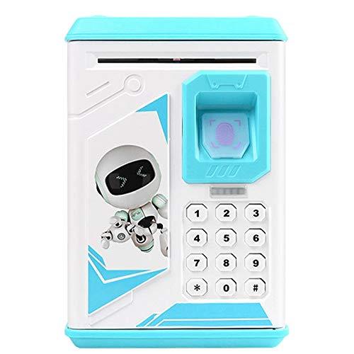 Caja De Dinero Electrónico, Contraseña ATM Cash Box De La Huella Digital De La Moneda Hucha Bank ATM Caja Fuerte del Billete De Banco (Rosa),Blue