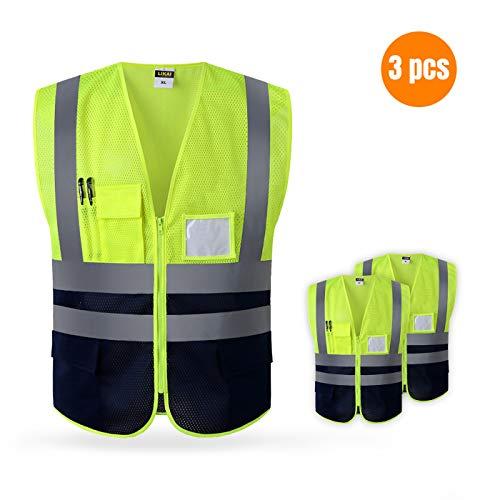 Gilet riflettente ad alta visibilità leggero e traspirante, arancione e giallo fluorescente XL, 3 pezzi