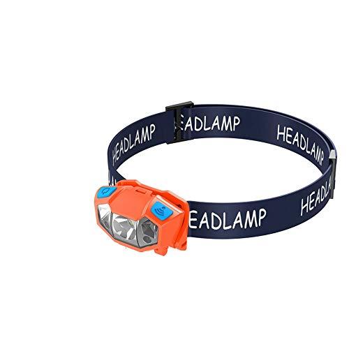 WPCBAA Induction Super Lumineux phares éblouissement Longue portée LED phares polymère USB de Charge étanche Phare extérieur Lampe de Poche Camping phares (Couleur : Orange)