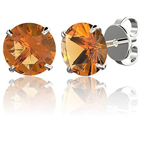 .925 Sterling Silver Hypoallergenic Citrine Cubic Zirconia Round Brilliant-Cut Stud Earrings, 5mm