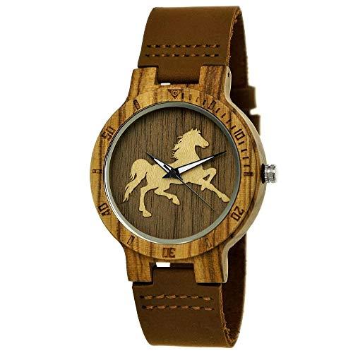 Handgefertigte Holzwerk Germany ® Designer Öko Unisex Damen-Uhr Herren-Uhr Öko Natur Holz-Uhr Leder Armband-Uhr Analog Klassisch Quarz-Uhr in Braun mit Pferd Pony Motiv (Braun)
