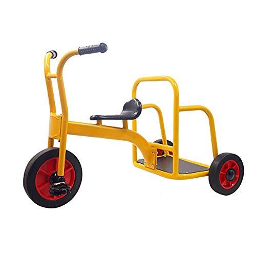 Nfudishpu My Rider Chariot Tandem Bike para niños, Triciclo para niños- Diseño Retro- Triciclo con Ruedas de Goma- Cubierta Delantera de Guardabarros cromada- Bicicleta de Paso