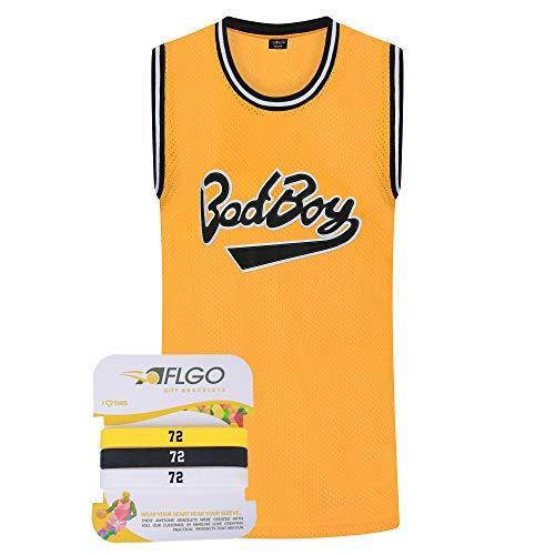 AFLGO BadBoy #72 Basketball-Trikot S-XXXL, 90er Jahre-Kleidung Notorious Biggie Kostüm Sportbekleidung genäht – Top Bonus Combo Set mit Armbändern, Herren, gelb, XL/52
