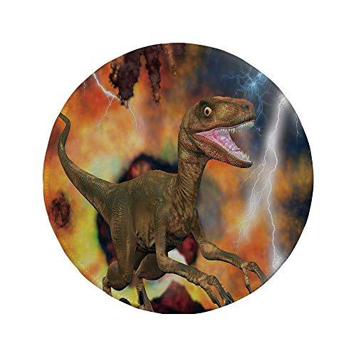 Rutschfreies Gummi-Rundmauspad Dinosaurier dramatische Explosionen Hintergrund der Katastrophenzerstörung mit Allosaurus Fragilis mehrfarbig 7.9