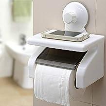 SHOPPOSTREET Toilet Paper Holder in Bathroom, Tissue Roll Dispenser with Mobile Soap Shelf Rack (Standard, Multicolour)