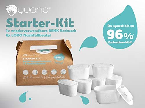 yucona® Wiederverwendbare Wasserfilter-Kartusche, Starter-KIT(6 Monate), Reduktion Kalk Chlor