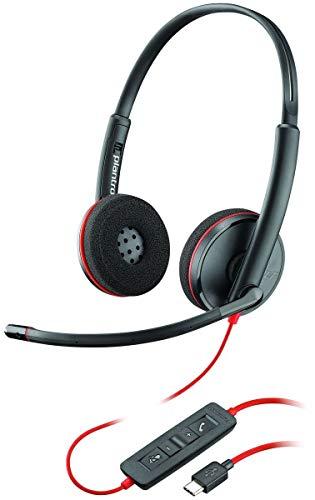 Plantronics Stereo-Headset 'Blackwire C3220' mit USB-C Anschluss, Noise Cancelling, Soundguard und flexiblem Mikrofonarm, Schwarz