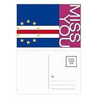 カーボベルデはアフリカの国の国旗 ポストカードセットサンクスカード郵送側20個ミス