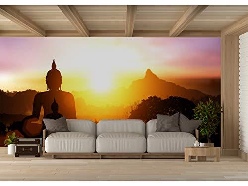 Fotomural Vinilo para Pared Silueta de Buda en la Puesta de Sol | Fotomural para Paredes | Mural | Vinilo Decorativo | Varias Medidas 200 x 150 cm | Decoración comedores, Salones, Habitaciones.