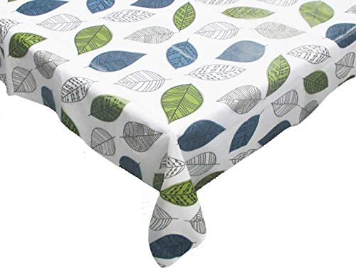 Contemporary Home Living 70' White with Leaves Print Design Round Tablecloth