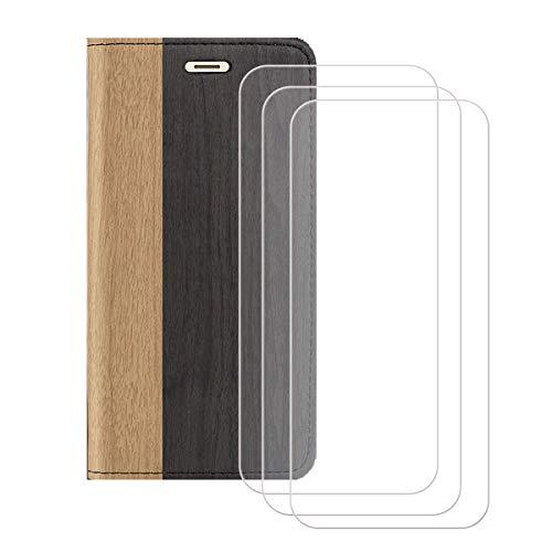 """Capa carteira para Umidigi A5 Pro (6,3"""") + [pacote com 3] película protetora de tela de vidro temperado, capa flip de couro sintético YZKJ com compartimentos para cartão de crédito e suporte de capa protetora - preta"""