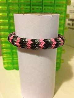 Samorthatrade 6 Pin Hexafish Fishtail Rainbow Loom Rubber Band Bracelet in Black. Silver and Pink
