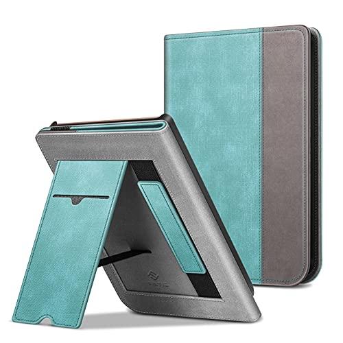 FINTIE Funda Vertical para Pocketbook Touch HD 3/Touch Lux 4/Basic Lux 2/Color (2020) e-Book Reader - Carcasa con Bolsillo para Tarjeta y Correa de Mano Función de Auto-Reposo/Activación, Verde Menta
