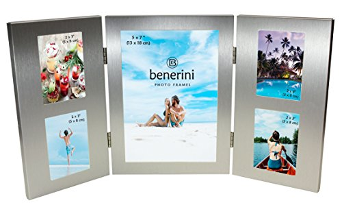 benerini 5 Picture Brushed Aluminium Satin Silver Colour Folding Multi Photo Picture Frame - Will Take One Photo of 5 x 7 inches (13 x 18 cm) & 4 Photos of 2 x 3 inches (5 x 8 cm).