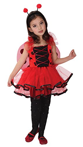 GIFT TOWER Déguisement Petite Fée Coccinelle Princesse Halloween Carnaval Costume Cosplay Enfant Fille (7-9 ans)