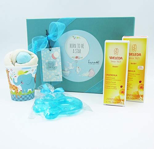 Canastilla Ecológica Bebé | Con: Cremas WELEDA, Milkshake (= Babero + calcetines) y Mordedor Refrigerante | Todo es de Marca | Para Niños (azúl) | PERSONALIZABLE Con el Nombre del Bebé!