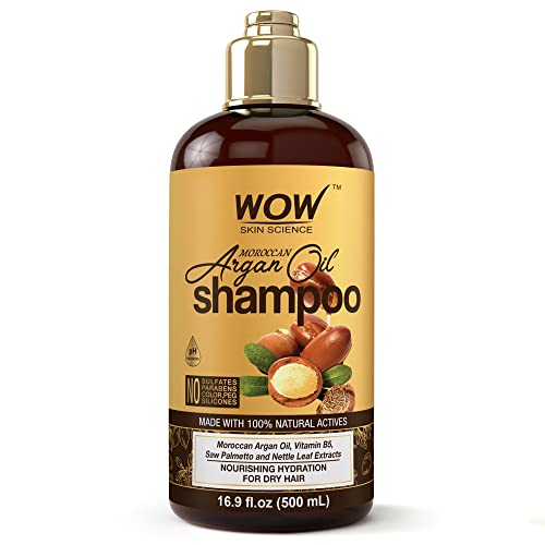 WOW Moroccan Argan Oil Shampoo With DHT Blockers - Boost Fast Hair Growth, Reduce Frizz, Hair Loss - Clean Scalp, Stronger Hair - For Soft & Smooth Hair - Silicone, Paraben, Sulfate Free - 500 mL