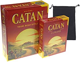 Catan 5th Edition Board Game with Catan 5-6 Player Extension Bundle - Includes Convenient Velour Drawstring Storage Bag with Hickoryville Logo