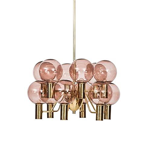 YYM Postmodern Creative Sputnik Chandelier 12-Head Pink Satellite Lámpara Molecular Light Fixture Lámpara Colgante nórdica de Mediados de Siglo Lámparas de Techo de Metal Globo Pantalla de Vidrio
