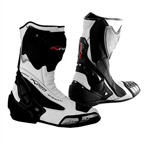 A-Pro Stivale Scarpa Calzatura Pelle Moto Race Racing Sport Pista Tecnico Bianco 41