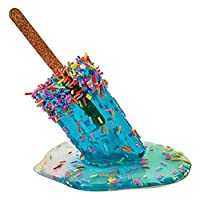 MERIGLARE 創造的な溶けるアイスキャンデーの彫刻夏の溶けるアイスクリームの装飾品デスクトップショップの庭の装飾のための装飾的な彫像 - ライトブルー