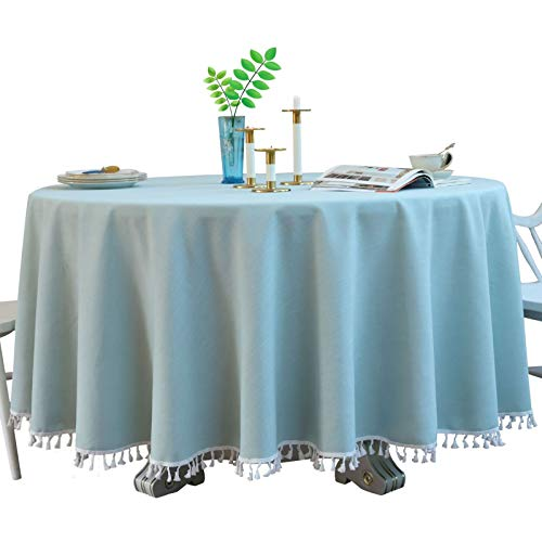DJUX Mantel Redondo de Encaje hogar algodón y Lino hogar Grande Redondo Verde Azul Color sólido a Prueba de Polvo Mantel Mantel 140 cm