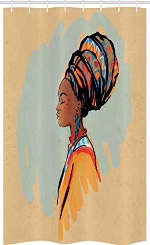 ABAKUHAUS Afrikaanse Douchegordijn, Profiel, voor Douchecabine Stoffen Badkamer Decoratie Set met Ophangringen, 120 x 180 cm, Veelkleurig