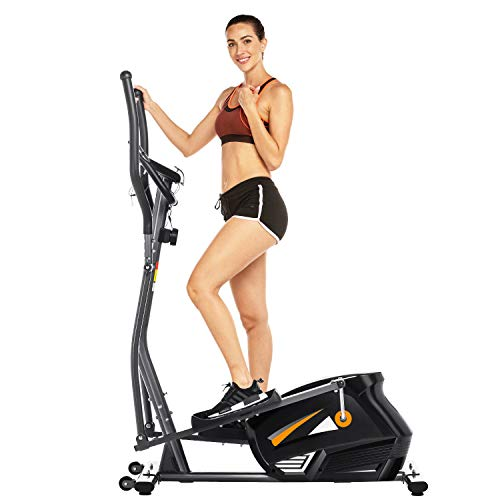 FUNMILY Elliptical Machine Cross Trainer, EM530 Cardio Fitness Equipment with 10 Level Magnetic Resistance, LCD Monitor, 390 LBs Max Weight for Home Gym Use (Black)