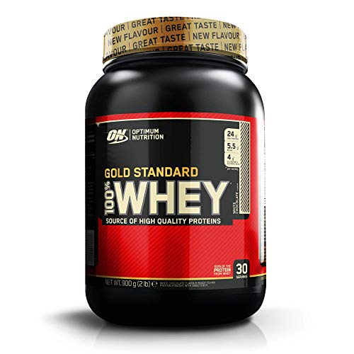 Optimum Nutrition Gold Standard Whey Muscle Building and Recovery Protein Powder With Glutamine and Amino Acids, White Chocolate, 30 Servings, 0.9 kg, Packaging May Vary