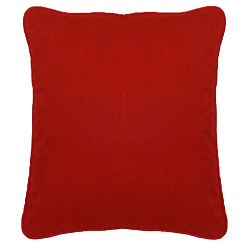 Saffron Red Cotton Cushion Cover Pillow Case Cord Piping 22X22 Inches 55X55 Cm COVER ONLY, Not Stuffed, Insert not Included