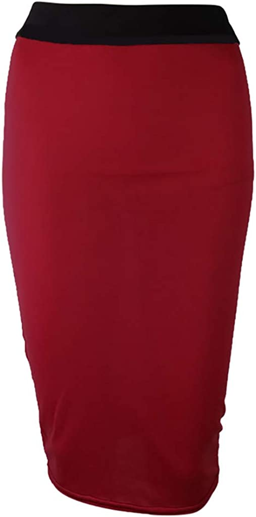 〓COOlCCI〓Womens Elegant Knee Length Slim Fit Skirt Stretch Wear to Work Stretch Business Office Pencil Skirts