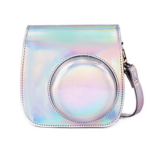 Leebotree Sofortbildkameras Tasche Kompatibel mit Instax Mini 11 Sofortbildkamera aus Weichem Kunstleder mit Schulterriemen und Tasche (Magisches Silber)