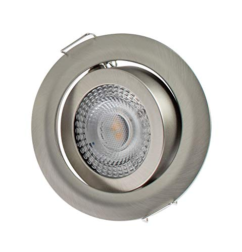 Rolux 9243-3 - Foco LED empotrable (5 W, intensidad regulable, 230 V, ultra plano, plástico, 5 W), color cromo mate