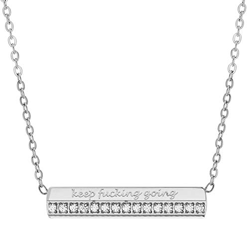 FERIER Bar Necklace for Women Keep Fucking Going Silver Dainty Message Pendant Necklace with Cubic Zirconia Letter Chain Charm Jewelry Girls Gift