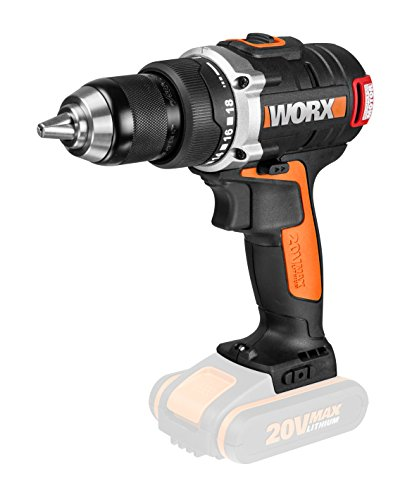 Worx wx175.920V batería–Taladro atornillador, motor sin escobillas, 13mm portabrocas, 2velocidades, sin batería, cargador y accesorios, Vatios de variable, elegir, Negro/Naranja