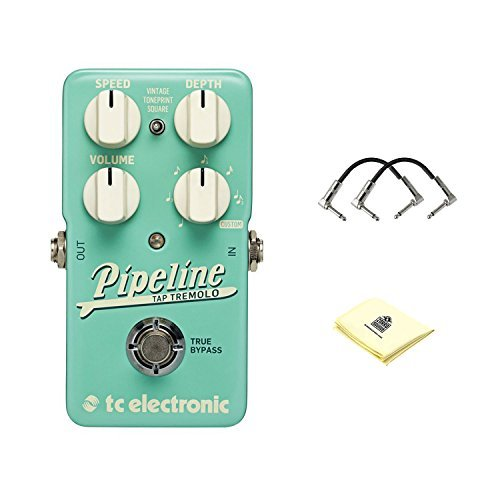 TC Electronic Pipeline Tremolo Tremolo Effects Pedal with Speed, Volume, Depth, and Rhythmic Subdivision Controls and Square Settings with 2 Patch Cable for Guitars and Zorro Sounds Guitar Cloth