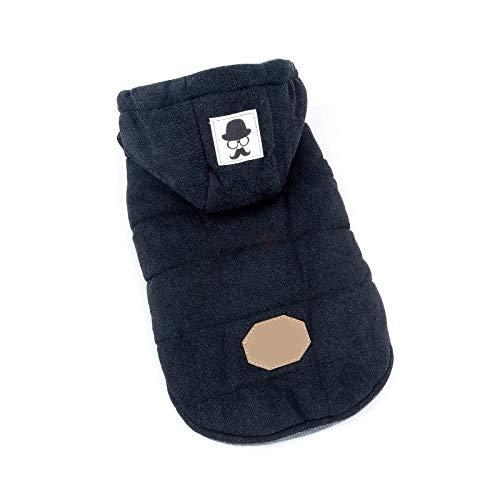 Chaquetas de lana de algodón para perros pequeños, con capucha para clima frío, chico, cachorro, color negro, 42 cm