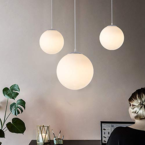 DAXGD Lampadario con sfera di vetro, Lampada a sospensione, Lampada interna singola per Camera da letto, Soggiorno, Corridoio, Bar 1pcs (15CM), E27