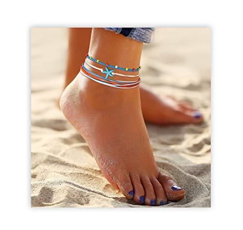 Seyaa Anklet Bracelet for Women String Adjustable Waterproof Handmade Strand Braided Rope Starfish Boho Bracelet Set Women Teen Girls