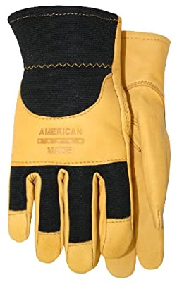 American Made Goatskin Leather Spandex Work Glove with Knuckle Strap and Leather Palm