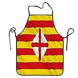 N\A Delantal de Personalidad Divertida Bandera Provincia de Barcelona Este de España Bandera Provincia de Barcelona Este de España Centro Chef autónomo Delantales de Cocina
