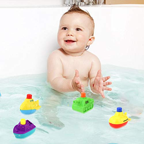 Schimer Bath toy gift boats bath squirt toy 4 pieces bath boat toy, bath boat toys, floating boat, bathing fun time, great gift for baby