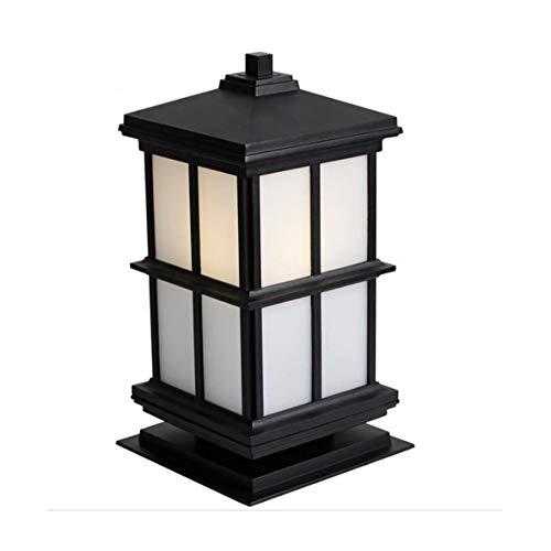 WPCBAA Pillar lamp zwart metaal en witte lampenkap buitenwandlamp waterdicht naar huis deurpalen lamp tuinhek verlichting