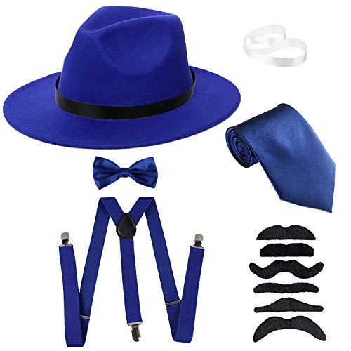 Men's Roaring 1920s Set Manhattan Fedora Hat,Y-Back Suspenders & Pre Tied Bow Tie, Gangster Tie & Fake Mustache (OneSize, Blue Hat & Blue Suspenders)