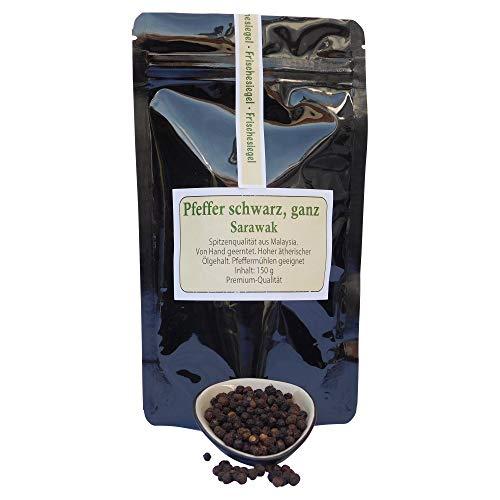Pfeffer schwarz, ganz, Sarawak, Yellow Label, 100% Premium Qualität,150 g Aroma-Zip-Beutel, naturbelassen, Spitzenqualität aus Malaysia, hoher ätherischer Ölgehalt, von Hand geerntet.