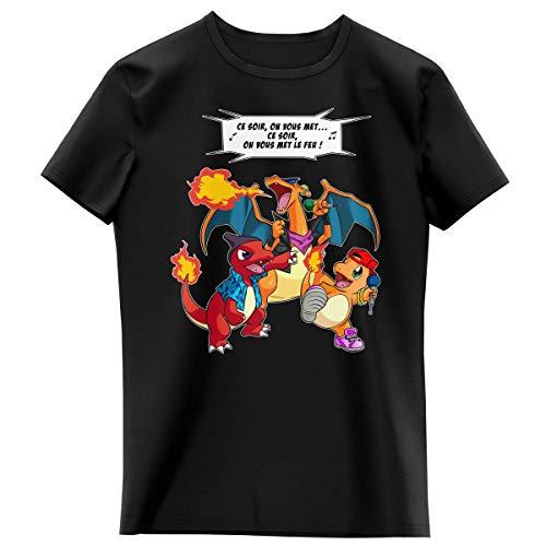 Okiwoki T-Shirt Enfant Fille Noir Parodie Pokémon - Dracaufeu, Reptincel et Salamèche - Ce Soir, on Vous met Le Feu ! (T-Shirt Enfant de qualité Premium de Taille 7-8 Ans - imprimé en France)