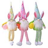 Beadchica 2/3Pcs Easter Gnomes Set,Handmade Easter Gnome Plush Doll Gifts Easter Gnome Decor Ornaments for The Home (3pcs Easter Gnomes with Long Legs)