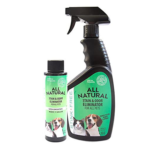 Stink Free All Natural Stain & Urine Odor Eliminator & Remover for Cat & Dog, Makes 1 Gallon of Solution, Microbial & Enzyme Based Pee Cleaner Destroyer for Carpets, Rugs, Mattress, Litter Box, Ect.