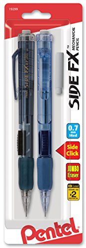 Pentel Side FX Automatic Pencil with Eraser Refill, 0.7mm, Color may vary, 2 Pack (PD257EBP2)